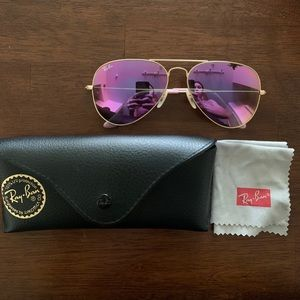 Pink Aviator Ray-Bans W/ Gold Frame